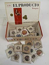 BOX LOT OF VINTAGE PINS OF DIFFERENT SUBJECTS.
