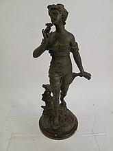 VICTORIAN SPELTER STATUE ON MARBLE BASE.