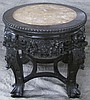 CHINESE CARVED LOW TABOURET.  With inset rose color hardstone top.  18