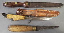 ROSEWOOD HANDLE BREAD KNIFE.  Ca. 1850.  7 1/2