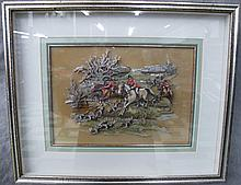 RESIN MODELED BAS RELIEF OF A HUNT SCENE.  Heavy was acrylics.  (From:  Sculptured Arts, Tlaquepaque Village, Sedona, Arizona.  Frame size is 17
