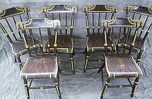 SET OF SIX PAINTED PLANK SEAT COUNTRY CHAIRS.  With three spindle backs, bold wood grain paint and pale yellow trim.  Ca. 1870.