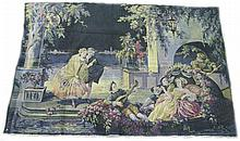 BELGIAN TAPESTRY.  Ca. 1920.  Classical romantic scene in rich, vibrant, unfaded