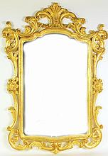 CARVED GILTWOOD ITALIAN STYLE MIRROR.  Recent production.  43