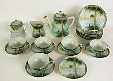 SCENIC HAND PAINTED NIPPON TEASET FOR SIX.  Including teapot, cream & sugar, fiv