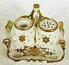LIMOGES PORCELAIN DESK STANDISH.  Gold decoration.  5