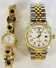 TWO WRISTWATCHES.  Including a main line time lady's with stone set band togethe