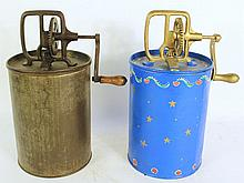 PAIR OF CAN BUTTER CHURNS.  With cylinder bodies.  One is modern painted.  13 1/