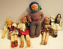 FIVE VINTAGE DOLLS.  With composition faces.