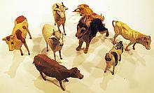 EIGHT VINTAGE GERMAN BARNYARD ANIMALS.