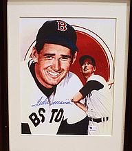 TED WILLIAMS AUTOGRAPHED PHOTO.  In frame.  With certificate of authenticity.