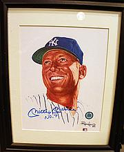 MICKEY MANTLE AUTOGRAPHED PHOTO.  With frame.