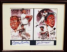 MICKEY MANTLE AND JOE DIMAGGIO AUTOGRAPHED PHOTO.  In frame.