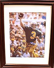 JOE MONTANA AUTOGRAPHED PHOTO.  In frame.  With certificate of authenticity.