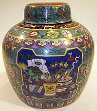 TWO CLOISONNE URNS.  9