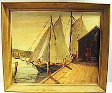 HARRY LEWIS HICKMAN.  (Western PA, 1912-1997).  Oil on board.  Landscape.