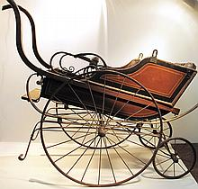 HI-LO WHEEL VINTAGE BABY CARRIAGE.  With original paint.