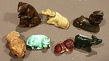 SEVEN UNIQUELY CARVED ASIAN ANIMALS.  I Including  turquoise/hardstone, jade water buffalos and glass/stone rams.