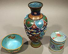 THREE PIECES OF CLOISONNE.  Including bowl, vase and covered box.  (Note:  all with some damage).