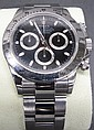 ROLEX STAINLESS DAYTONA WRISTWATCH. With black