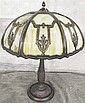 OVERLAY EIGHT PANEL SLAG GLASS TABLE LAMP. With