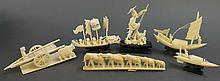 SIX IVORY FIGURAL GROUPS.  Fisherman, three spirit boats, an ox cart and an elep