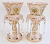 PAIR OF PINK OVERLAY LUSTERS.  Fine enamel and gold decoration with