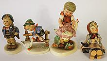 HUMMEL FIGURINE.  Boy on fence with goose.  #195 2/0, full bee and three other H