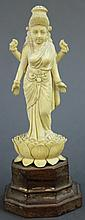 INDIAN CARVED IVORY GODDESS KALI.  Standing in a lotus blossom.  4 1/2