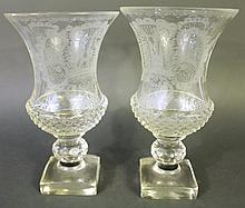PAIR OF CUT & ENGRAVED CONSOLE VASES.  19th century.  Diamond point cutting arou
