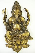 INDIAN BRONZE PLAQUE OF GANESH(Hindu diety of beginnings).  Heavy molded relief