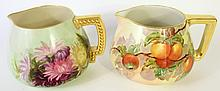 BELLEEK AND LIMOGES PITCHERS:  Domestically studio hand painted with well done