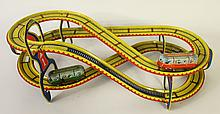 TIN TRAIN SET WITH TWO OBSERVATION CARS AND A