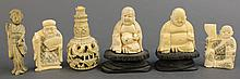 SIX ASSORTED SMALL ORIENTAL IVORY CARVINGS:  two Hotei, two netsuke types and tw