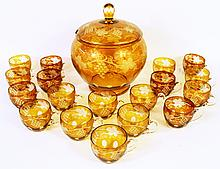 BOHEMIAN AMBER OVERLAY PUNCH SET:  Wheel engraved through to the clear in grapes