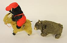 BUCKING MULE KEYWIND FELT, MOHAIR AND TIN LITHOGRAPH MECHANICAL TOY AND A KEYWIN