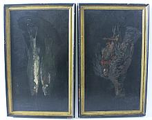 AMERICAN SCHOOL.  19th century.  Oil on black laquered chamfered wood panels.  P