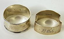 TWO ENGLISH STERLING SILVER NAPKIN RINGS.  1.00 oz. troy.