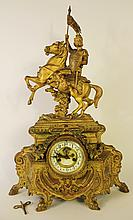 WATERBURY BRONZE FRENCH STYLE MANTLE CLOCK.  The clock in the classical style wi