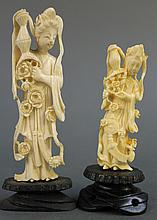 TWO CHINESE CARVED IVORY STATUES OF KUAN YIN.  4 3/4