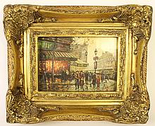 FRAMED DECOR PARISIAN STREET SCENE OILETTE IN AN ORNATE GOLD FRAME.  Image is 5