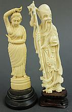 INDIAN AND CHINESE IVORY CARVINGS:  A female traditional dancer and an elderly s