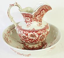 ENGLISH EARTHENWARE PITCHER AND WASH BOWL SET.  Mulberry transfer.  Mismatched b