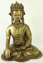 FINELY DETAILED BRONZE SCULPTURE OF THE BUDDHA IN THE CLASSIC POSE.  India, 20th