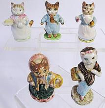 FIVE BEATRIX POTTER CAT FIGURES. Beswick, F. Warne