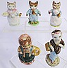 FIVE BEATRIX POTTER CAT FIGURES. Beswick, F. Warne