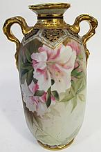 HAND PAINTED NIPPON FLORAL AND GOLD ENAMEL PAINTED