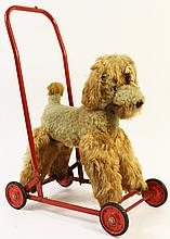 POODLE PUSH TOY. Labeled Chiltern Toys. Made in