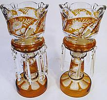 PAIR OF CZECH CRYSTAL LUSTERS. With amber overlay