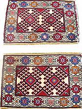 PAIR OF PERSIAN SHIRAZ ORIENTAL RUGS. Approx. 2' x